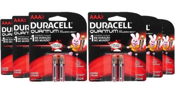 Kit Duracell Pilha Super Alcalina Aaa Quantum C/12 Unidades