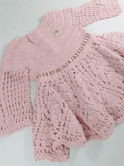 Vestido Em Crochê Para Bebê Rn