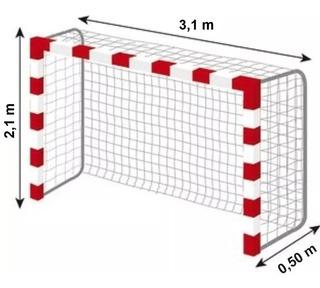 2 Redes Red Arco Futsal Papi Futbol Handball 3x2m Cajon 50cm - Material Virgen De Alta Tenacidad Resistente Sol Y Lluvia