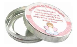 Kit 100 Latinhas Lembrancinha De Batizado Com Adesivo Bt414