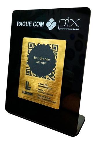 Imagem 1 de 3 de Placa Pix Para Pagamento Qrcode Acrílico Preta Face Dourada