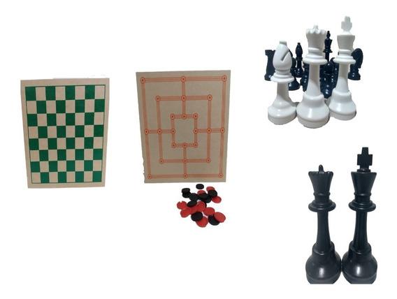 Jogo De Dama, Trilha E Xadrez - 3 Em 1 - Intelectus Suzano