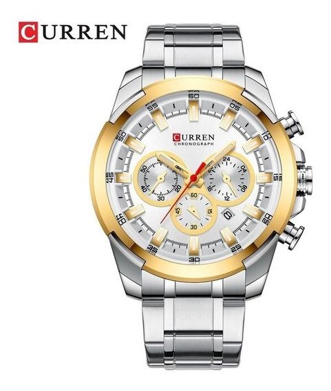 Relógio Prateado E Dourado De Aço Curren 8361 Pronta Entrega