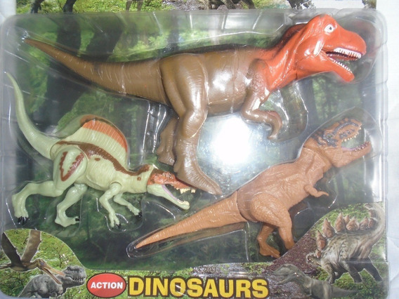 Set De 3 Dinosaurios Para Niños Juguete Figura