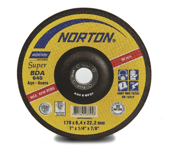 Disco Desbaste Metal 6.4mm - 7 Pulg/ Norton / Bda 640