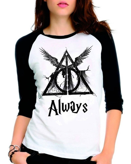 Camiseta Harry Potter Reliquias Da Morte Raglan Babylook 3/4
