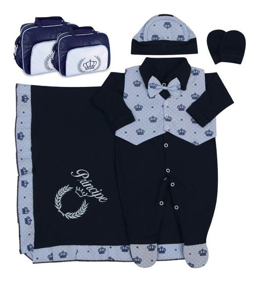 Saída Maternidade Bebê Menino + Kit Bolsa Maternidade 8 Pçs