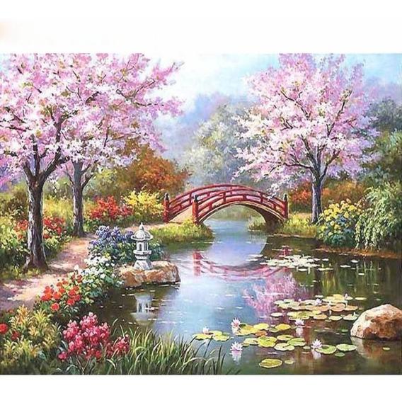 Pintura A Óleo Diy Desenho Flor Cereja Pintado Por Estojo Nú
