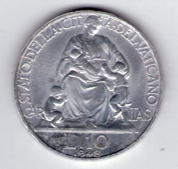 Vaticano 10 Liras Año 1948 Papa Pio Xii Sin Circular