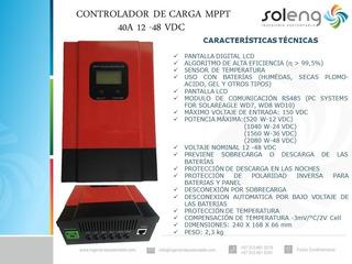 Controlador D Carga Mppt Panel Solar 40a 12/24/36/48 Vdc