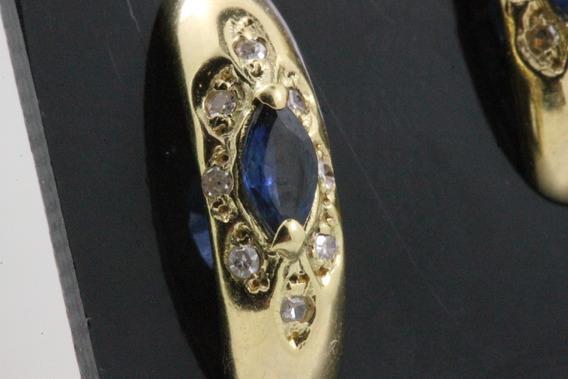 Brinco Ouro 18k Safira Azul