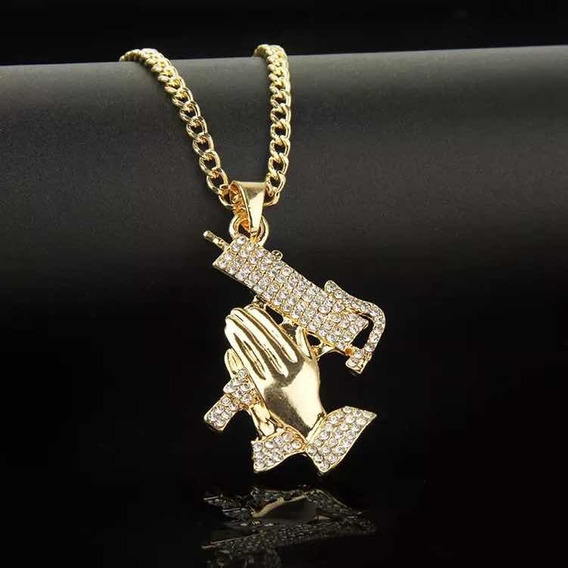 Cadena Collar Uzi Manos Hip Hop Oro Diamantada