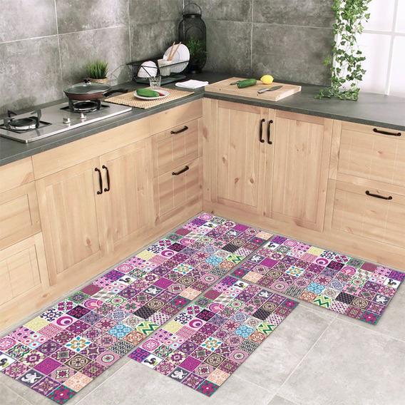 Tapete De Cozinha Mosaique Jogo 3 Peças Antiderrapante