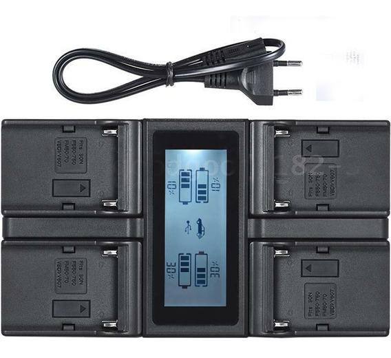 Carregador Quaduplo Display Lcd Bateria Np-f970