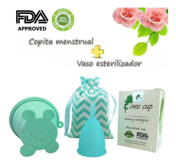 Copa Menstrual Onis Copita Cup Silicon + Vaso Esterilizador Y Bolsa De Tela + Envío Gratis + Certificada Con Instructivo