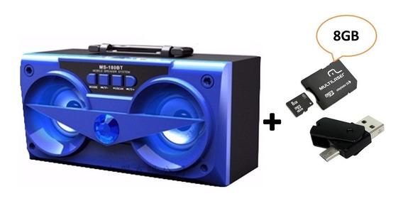 Combo Caixa De Som Bluetooth Azul 10w Ms-180bt + 4x1: - 8gb