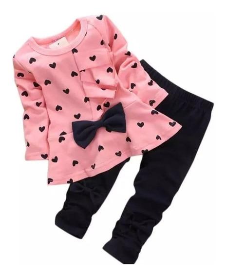 Conjunto Dos Piezas Para Niña Blusa Y Pantalón Corazones