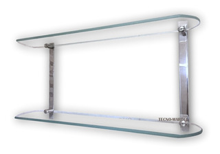 Repisa Estante Doble Para Baño - 100% Inoxidabe - Vidrio 6mm