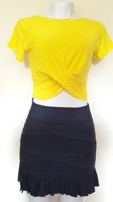 Blusa T-shirt Cropped Cruzado Transpassado Nózinho