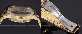 Relógio Winner Skeleton Masculino Dourado