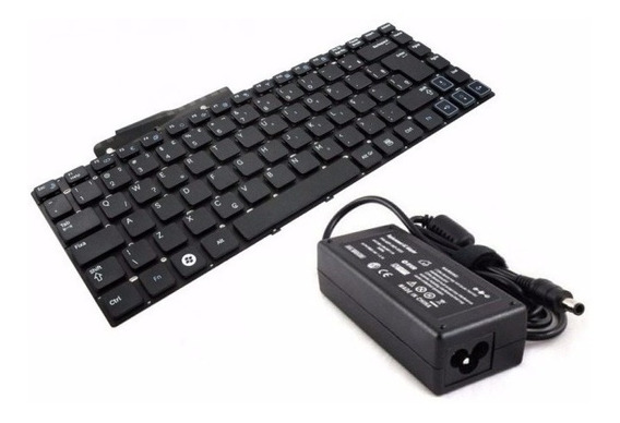 Kit Carregador + Teclado Para Notebook Samsung Rv420 Rv411