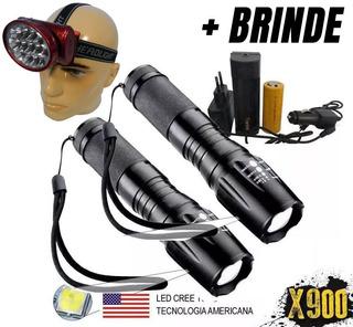 2 Lanternas Tática Militar 900 Recarregável Police + Brinde