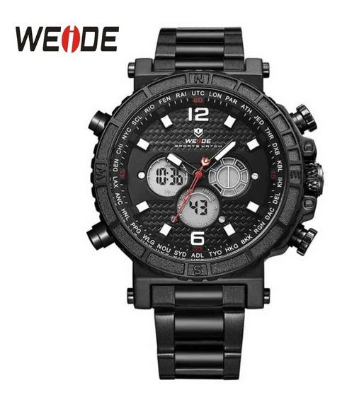 Relógio Preto Weide 6305 Masculino Original Para Presente