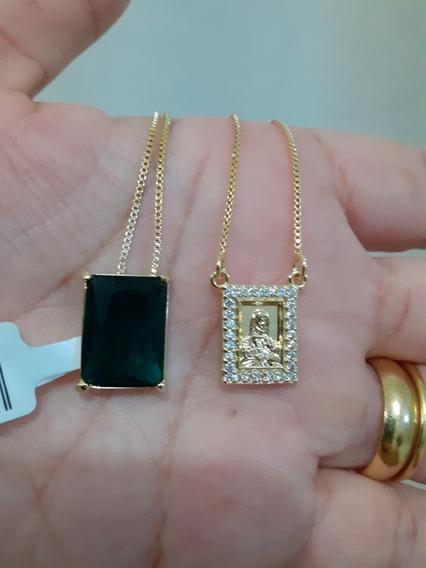 Escapulario Folheado Ouro 18k Zirconias Cristal E Esmeralda