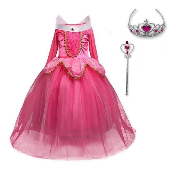 Vestido De La Bella Durmiente Aurora Con Corona Y Varita