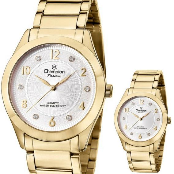 Relógio Champion Feminino Dourado Strass P/d