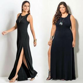Vestido De Festa Moda Evangélica Plus Size Longo Preto Lindo
