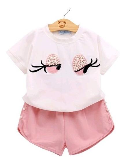 Conjunto Infantil Menina Feminino Criança Short E Blusa