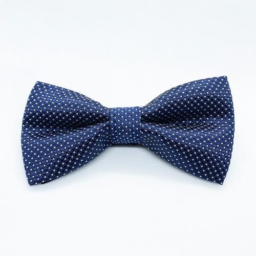 Corbata Moño Pajarita Azul Marino Punto Chico Blanco Hombre