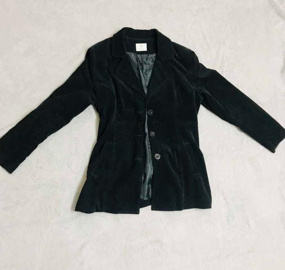 Saco Blazer Corderoy Negro Con Cinturón Mujer Otoño Invierno
