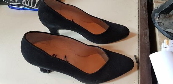 Zapatos De Gamuza Negro 35/36
