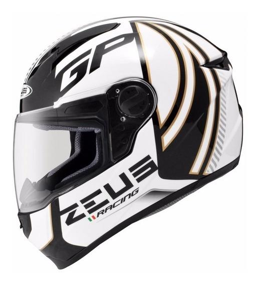 Capacete Zeus 811 Evo Gp Racing Preto E Branco