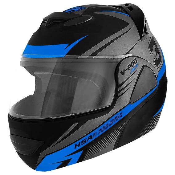Capacete Moto Articulado Grafismos Preto E Azul Pro Tork