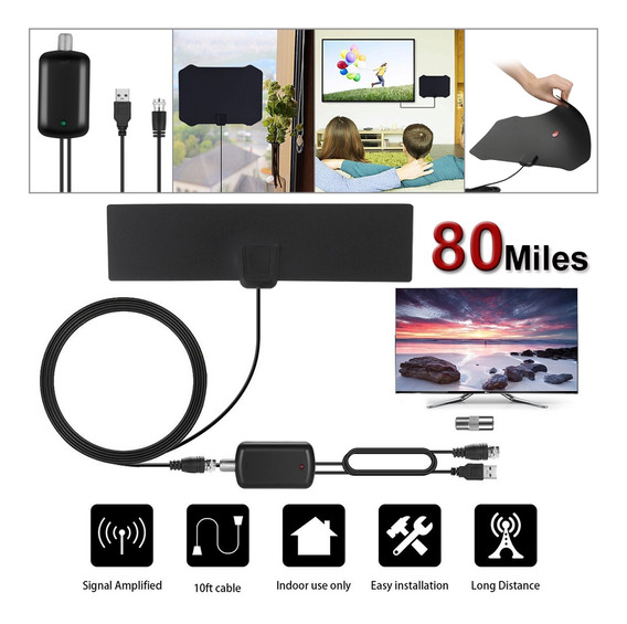 80 Mile Antena De Tv Digital Ultra-fino Digital Indoor Anten