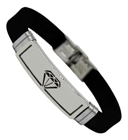 Pulseira Bracelete Masculino Silicone Luxo Diamante Aço Inox