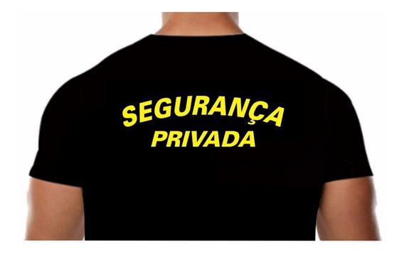 Camisa Malha Fria Pv Preta Estampa Segurança Privada