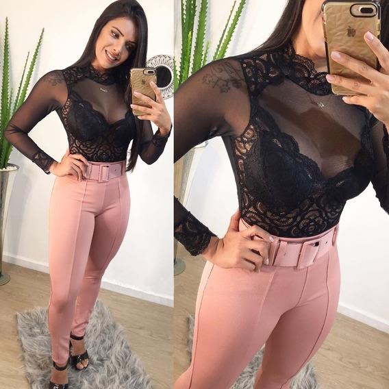 Calça Feminina Com Cinto Cintura Alta Skinny Justa Pmg