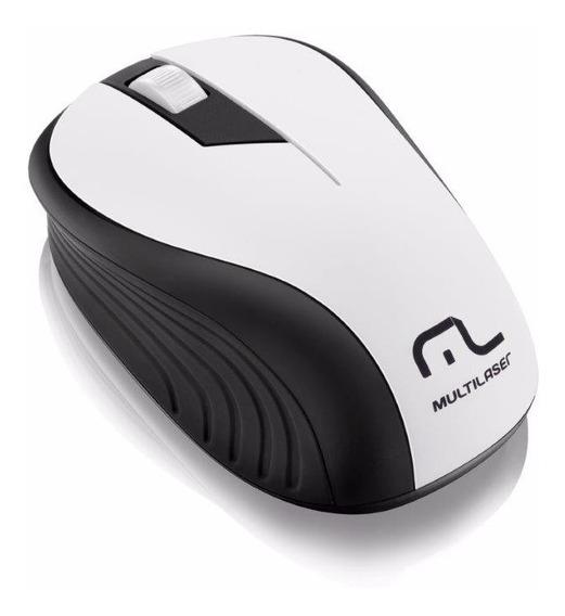 Mouse Óptico Usb Sem Fio 2,4ghz 1200dpi Multilaser Branco
