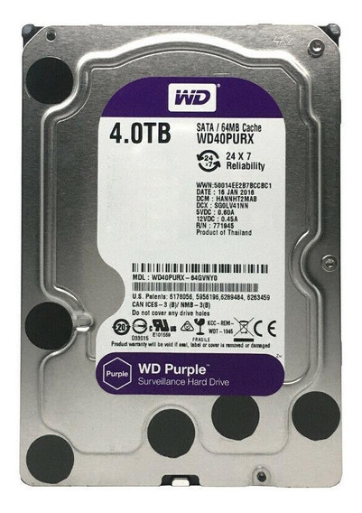 Disco rígido interno Western Digital WD Purple WD40PURX 4TB roxo