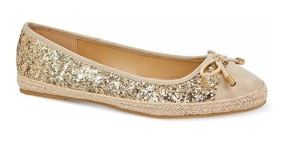 Elegante Flat Glitter Mujer Glamour Moño Natural Oro 2615806