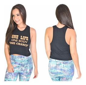 Cropped Regata Camiseta Fitness Feminina Academia Dry-fit