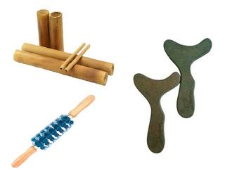 Kit Massagens Modeladora Bambus + Pantalas + Rolo