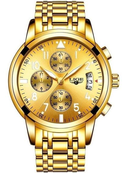 Relógio Masculino Lige Original Dourado A Prova D Água