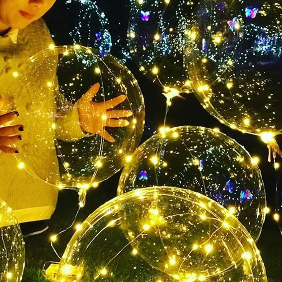 Globo 45cm Transparente Burbuja + Luces Led 3mts Calido