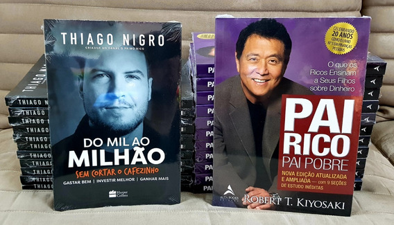 Livros Pai Rico Pai Pobre 20 Anos + Do Mil Ao Milhão - Kit