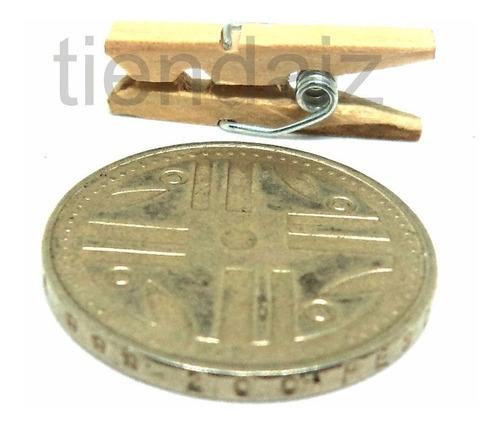 Mini Gancho Pinza De Madera Miniatura 2.5 Cm X10